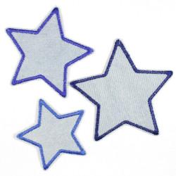 Flickli Set Sterne 3 Stück auf Jeans hellblau blau gefasst