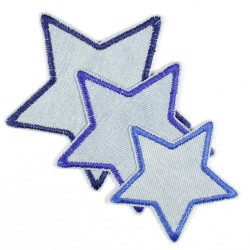 Flickli - the patch! blue jeans stars 3er set blue trim