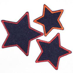 Flicken zum aufbügeln Set Sterne 3 Stück auf Jeans blau rot gefasst Bügelflicken 3 Aufbügler