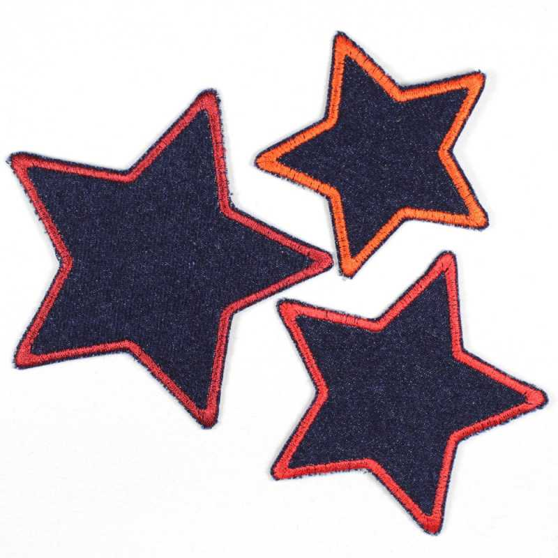 iron-on patches tblue jeans stars 3er set red trim strong embroidered appliques