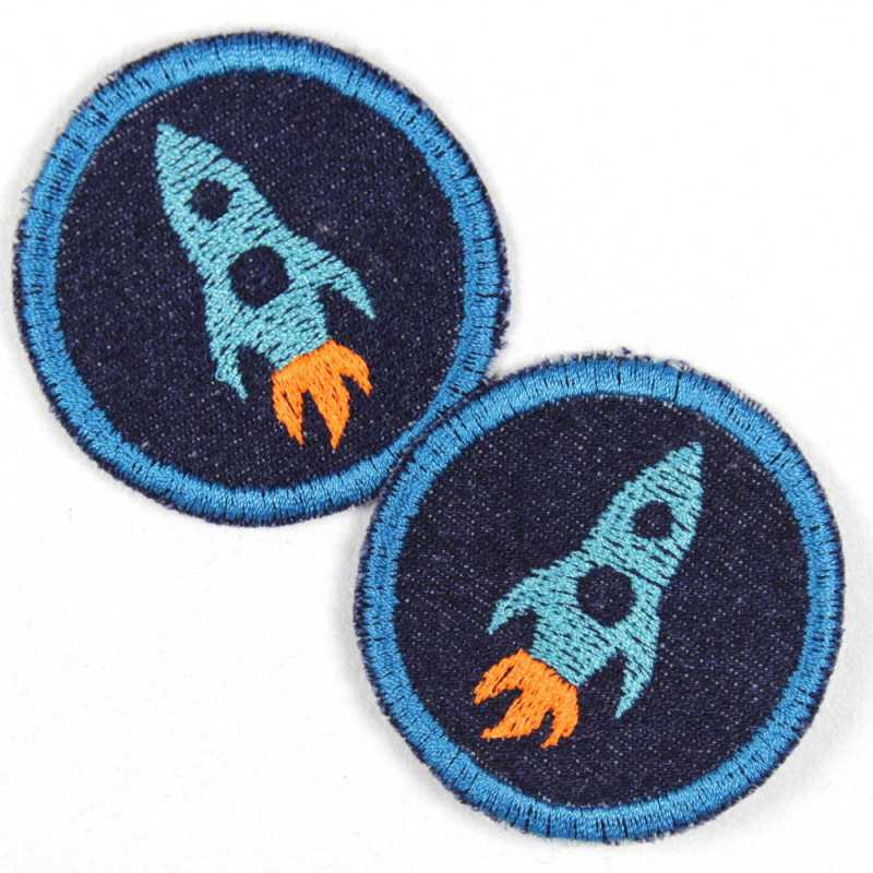 2 patches round with rocket blue on dark blue jeans tearproof cool jeans patch iron-on patches