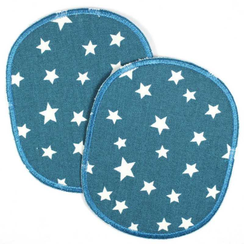 Iron-on patch set retro XL white stars on petrol, tear-resistant reinforced and ideal as a knee patch