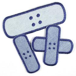 Flickli Pflaster Bügelflicken Jeans hellblau dunkelblau Set klein mittel groß