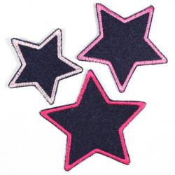 Flickli Set Sterne 3 Stück auf Jeans blau lila violet gefasst