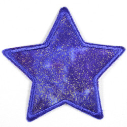 Flickli - the patch! star with golden glitter blue