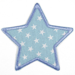 iron-on patches star light blue with wite starlettes strong applique usable as knee patches