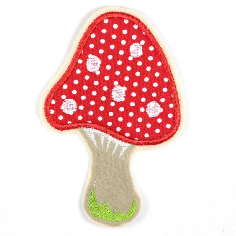 embroidered iron-on applique mushroom patches partially fleece
