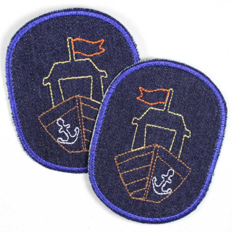 Patch set retro ship on blue, iron-on, tear-resistant denim and ideal as a knee patch