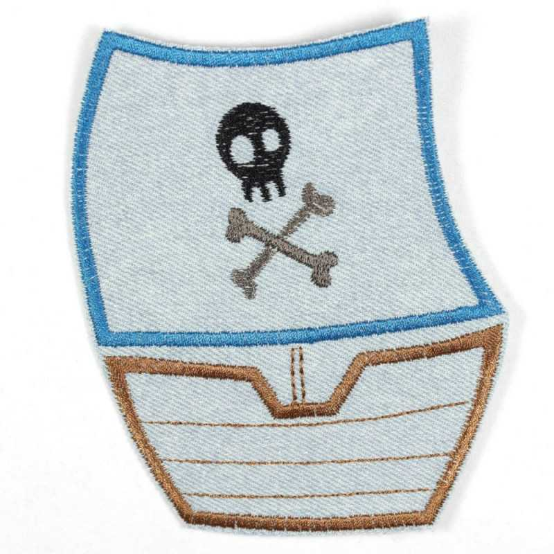 Flickli pirate ship light blue, made of tear-resistant denim and ideal as a knee patch