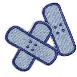 Flickli Pflaster Bügelflicken Jeans hellblau dunkelblau Set klein mittel