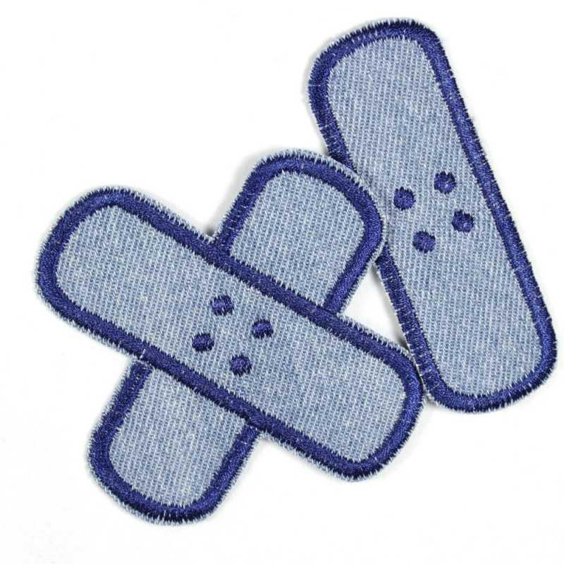 Flickli plaster iron-on patches light blue jeans dark blue embroidered, set small medium