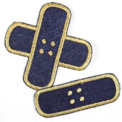 Bügelflicken 2 Pflaster Aufbügler Jeans blau gold Set klein mittel Flicken zum aufbügeln Jeans Patches für Kinder und Erwachsene