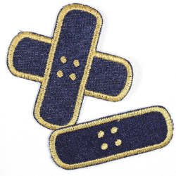 iron-on-patch Flickli! plaster blue gold single small, crisscross denim badges for kids and adults