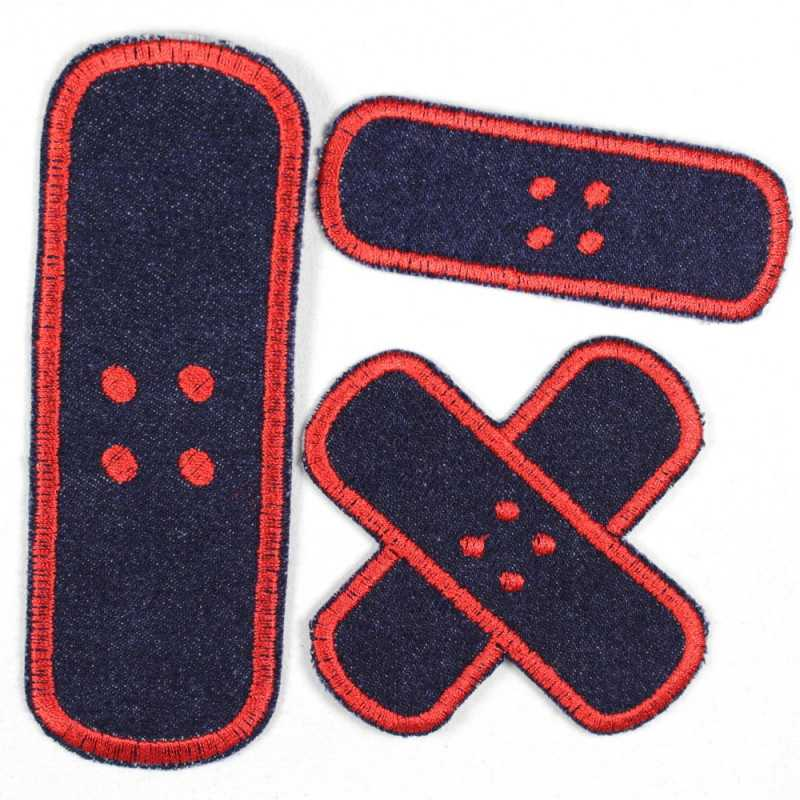 Flickli plaster iron-on patches dark blue jeans red embroidered, set small medium large