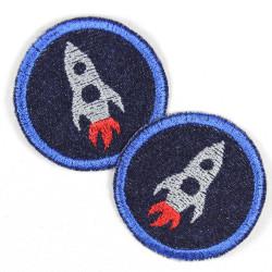 Flickli rund Rakete hellblau auf blau