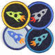 Flickli - the patch! round with rocket lightblue on blue