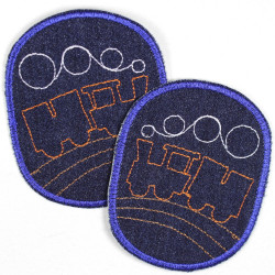 Flickli - the patch! set retro with ship on blue denim