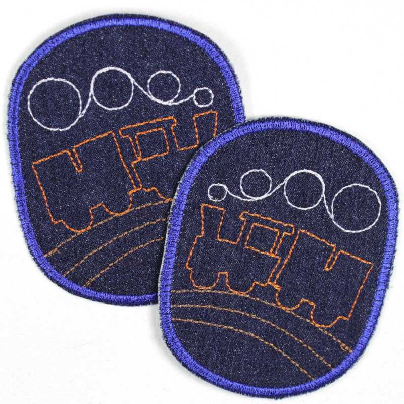 Patch set retro locomotive on blue, iron-on, tear-proof denim and ideal as a knee patch