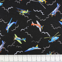cosmo fabrics cotton airplanes on black