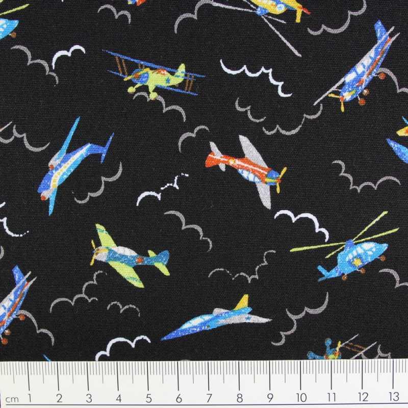 Cotton multicolored planes on black