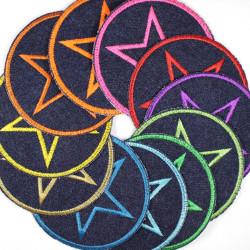 Flickli rund mit Stern Set 11 Stück Jeans