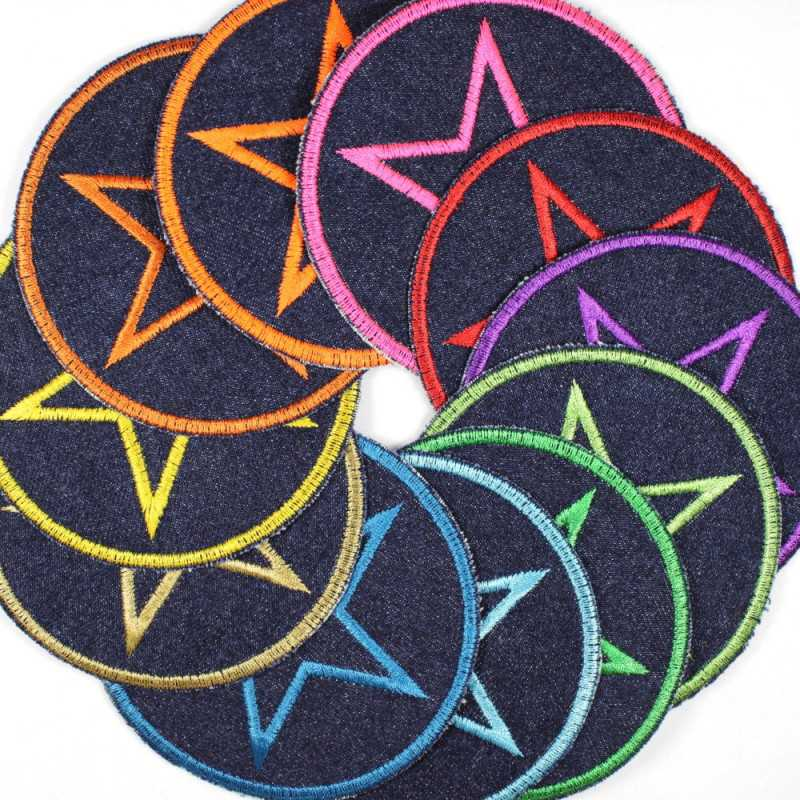 Flickli - the patch! denim round with star multicolor on blue
