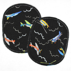 Patch set of retro colorful airplanes on black, reinforced tear-resistant and ideal as a knee patch