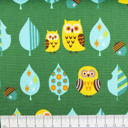 cosmo fabrics cotton owls on creme