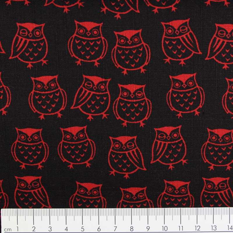 cosmo fabrics cotton owls red on black