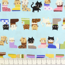 cosmo fabrics cotton cats on lightblue
