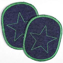 Flicken zum aufbügeln Set retro Jeans blau grüner Stern Bügelflicken solide Aufbügler