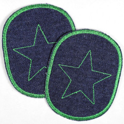 iron-on patches set retro jeans blue with green embroidered trim and star strong appliques usable as pants patches