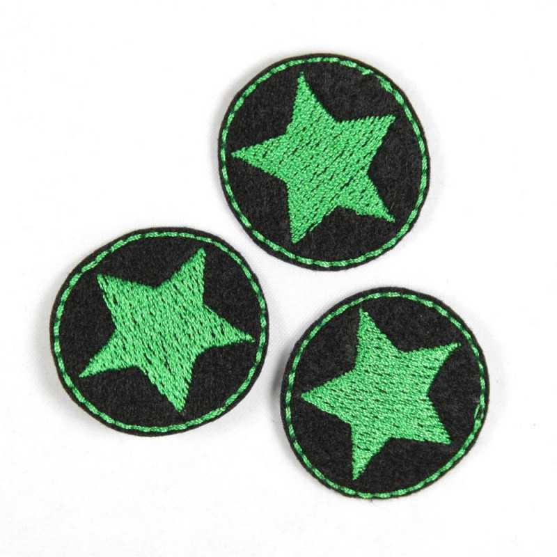 Flickli - the patch! round with green star on black 3er set