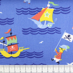 cosmo fabrics cotton ship and lighthouse on lightblue