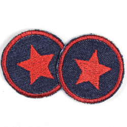 Flickli - the patch! round with blue star on lightblue
