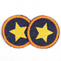 Flickli - the patch! round with neon orange star on dark blue