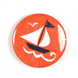 Button sailing boat fabric button 2.2""
