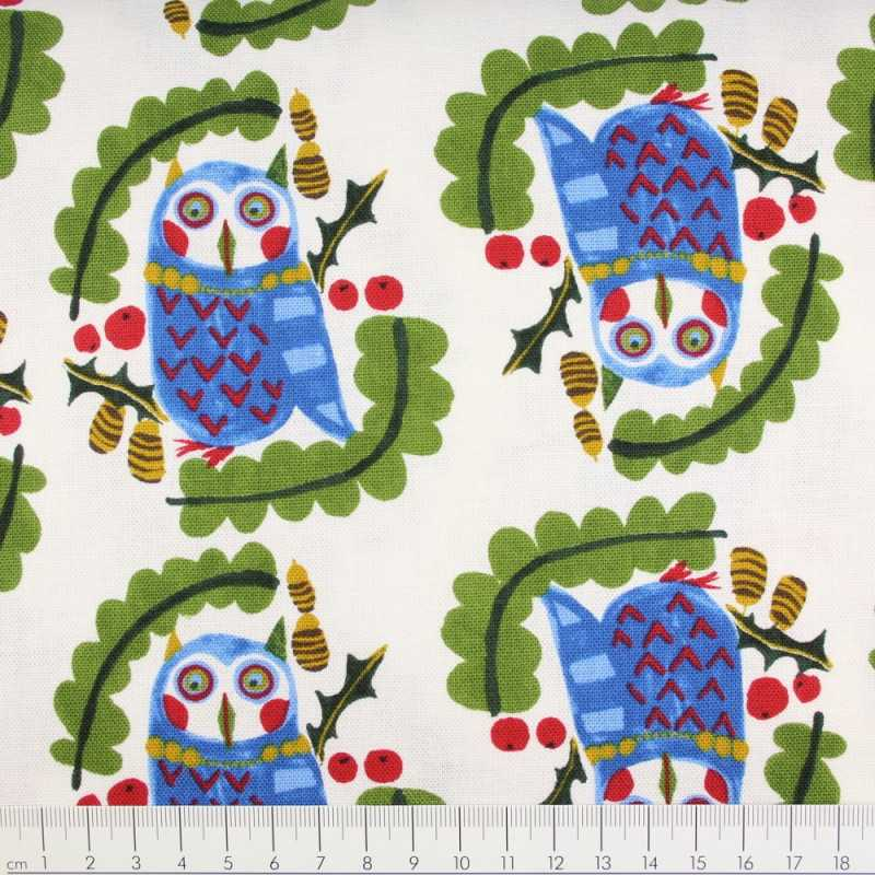 Cotton owl on white Kokka fabrics