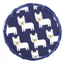 Flickli rund Hunde auf blau