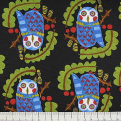 kokka fabrics cotton owl on black design Emo Emo by Kamiya Kanako