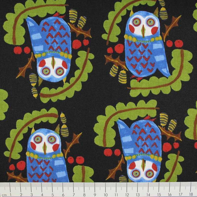 Cotton owl on black Kokka fabrics