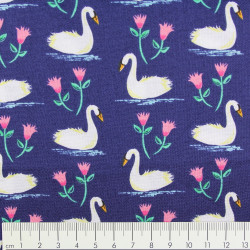Michael Miller fabrics swans a swimming