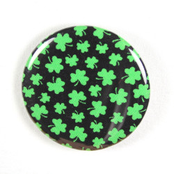 Button shamrock fabric button pin 2.2""