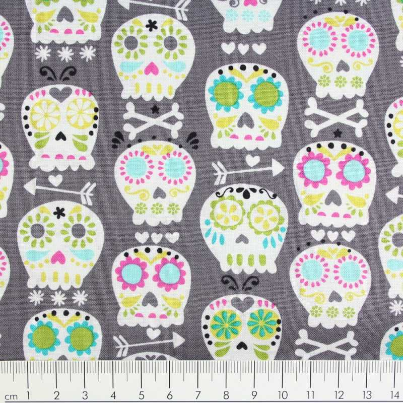 Cotton fabric skull Michael Miller