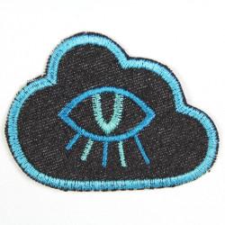 Flickli Wolke mit Auge Jeans blau