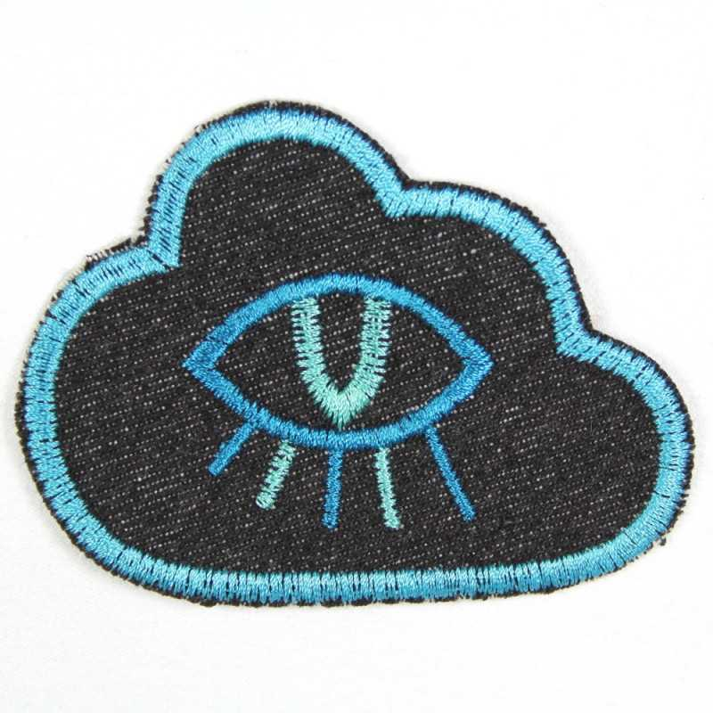 Flickli - the patch! Diamond blue denim neoncolors