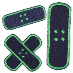 Flickli plaster iron-on patches dark blue jeans green embroidered, set small medium large