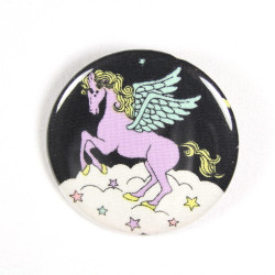 Button unicorn turquoise fabric button pin 2.2""