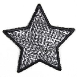 Flickli Stern Gitter mit schwarzer Schraffur auf weiß schwarz gefaßt