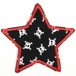 Flickli Stern schwarz mit weißen skulls rot umfaßt